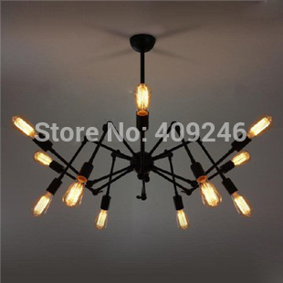 Art Design Loft Vintage Industrial Edison Iron 12 Lights Spider Chandelier Droplight Ceiling Lamp Living Room Dining Room Cafe vintage edison chandelier rusty lampshade american industrial retro iron pendant lights cafe bar clothing store ceiling lamp