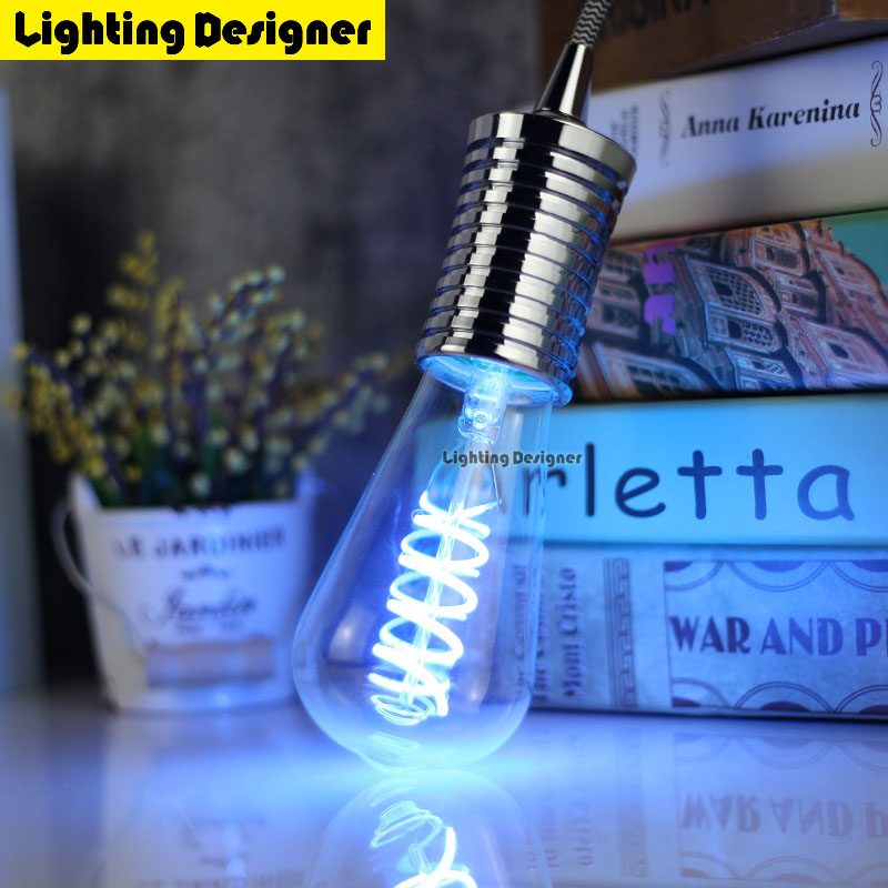 ST64 blue led edison bulb spiral lighting light amber retro saving lamp vintage filament bubble ball bulb E27 led light 4W 220V retro lamp st64 vintage led edison e27 led bulb lamp 110 v 220 v 4 w filament glass lamp