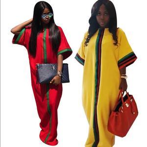 Image 3 - Vestidos africanos para as mulheres 2019 verão outono listra impressão magro mangas compridas maxi vestido nova moda africano roupas de áfrica