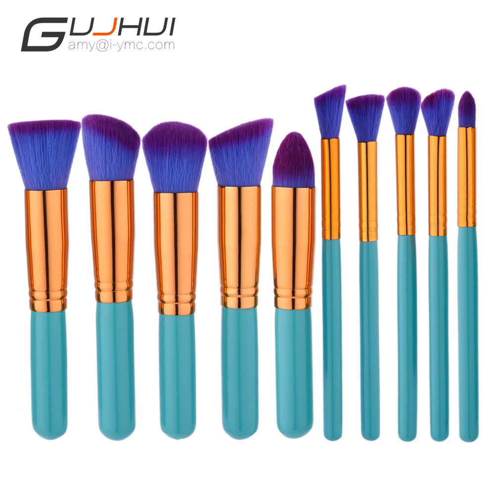 GUJHUI Brand New 10pcs Blue Make Up Foundation Eyebrow Eyeliner Blush Concealer Makeup Brushes Cosmetic Beauty Tool se12 2017 new 24pcs mini make up foundation eyebrow eyeliner blush cosmetic concealer brushes beauty drop shipping sep25