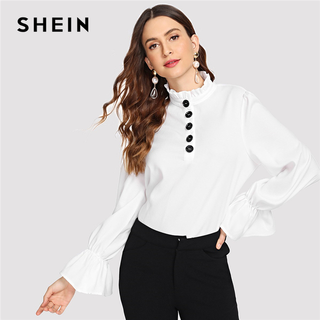 22608e1fe9 SHEIN White Elegant Office Lady Ruffle Detail Button Bell Sleeve Solid  Blouse 2018 Autumn Minimalist Women Tops And Blouses