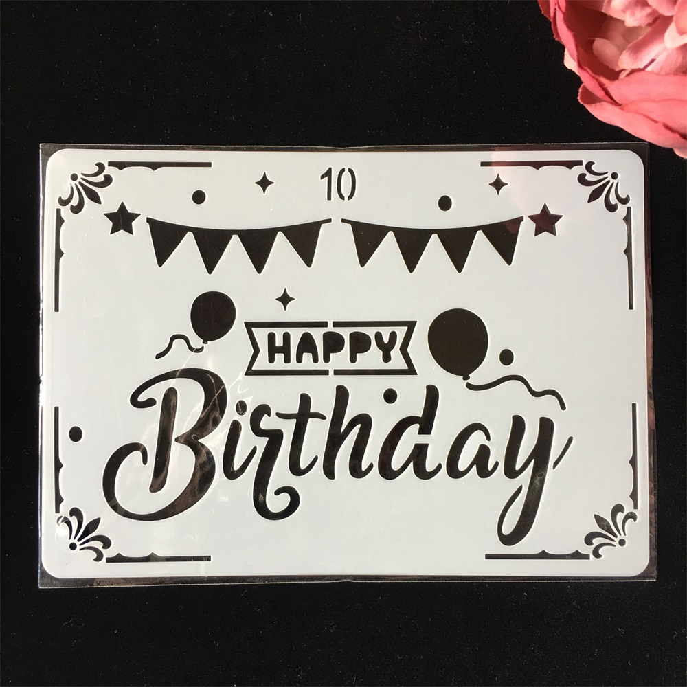 18cm Happy Birthday Flag DIY Layering Stencils Painting Scrapbook Coloring Embossing Album Decorative Paper Card Template
