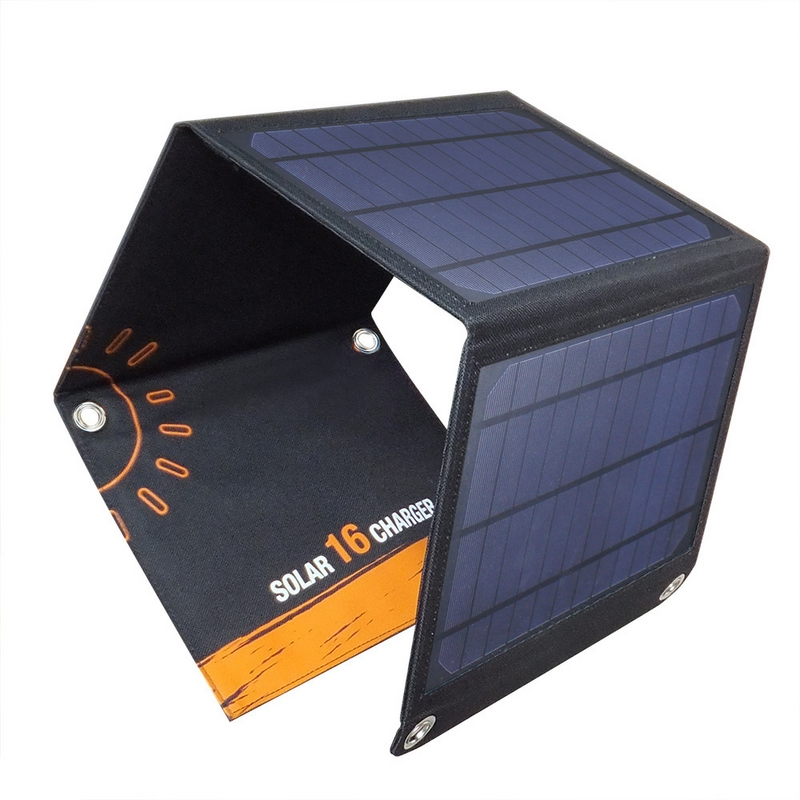Portable 16W Folding Foldable Waterproof Solar Panel Charger Dual USB Output Solar Power Bank Camping Charger for Cell Phone