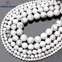 Camdoe danlen pedra de gema natural pulseira, amuleto branco howlite turquesa 4 6 8 10 12 14mm contas para fazer jóias