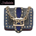 Hot Sell Women Designer Snake Serpentine Leather Shoulder Bags Small Rivets Chains Clutches Flap Bag Lady Ruched Messenger Bag