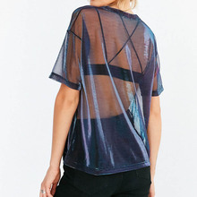 2019 Summer Sexy Mesh Tee See-Through Women T-shirts Short Sleeve Perspective Shine Casual Women Tops Lady Vintage Blusa