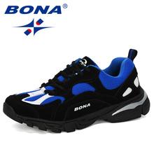 BONA 2019 nowe popularne buty do biegania mężczyźni na zewnątrz buty sportowe buty sportowe męskie wygodne sportowe obuwie treningowe męskie obuwie tanie tanio Dla dorosłych RUBBER Krowa split pu Oddychające Średnie (b m) Lace-up Spring2019 Stabilność Maraton ( 40 km) Pasuje prawda na wymiar weź swój normalny rozmiar