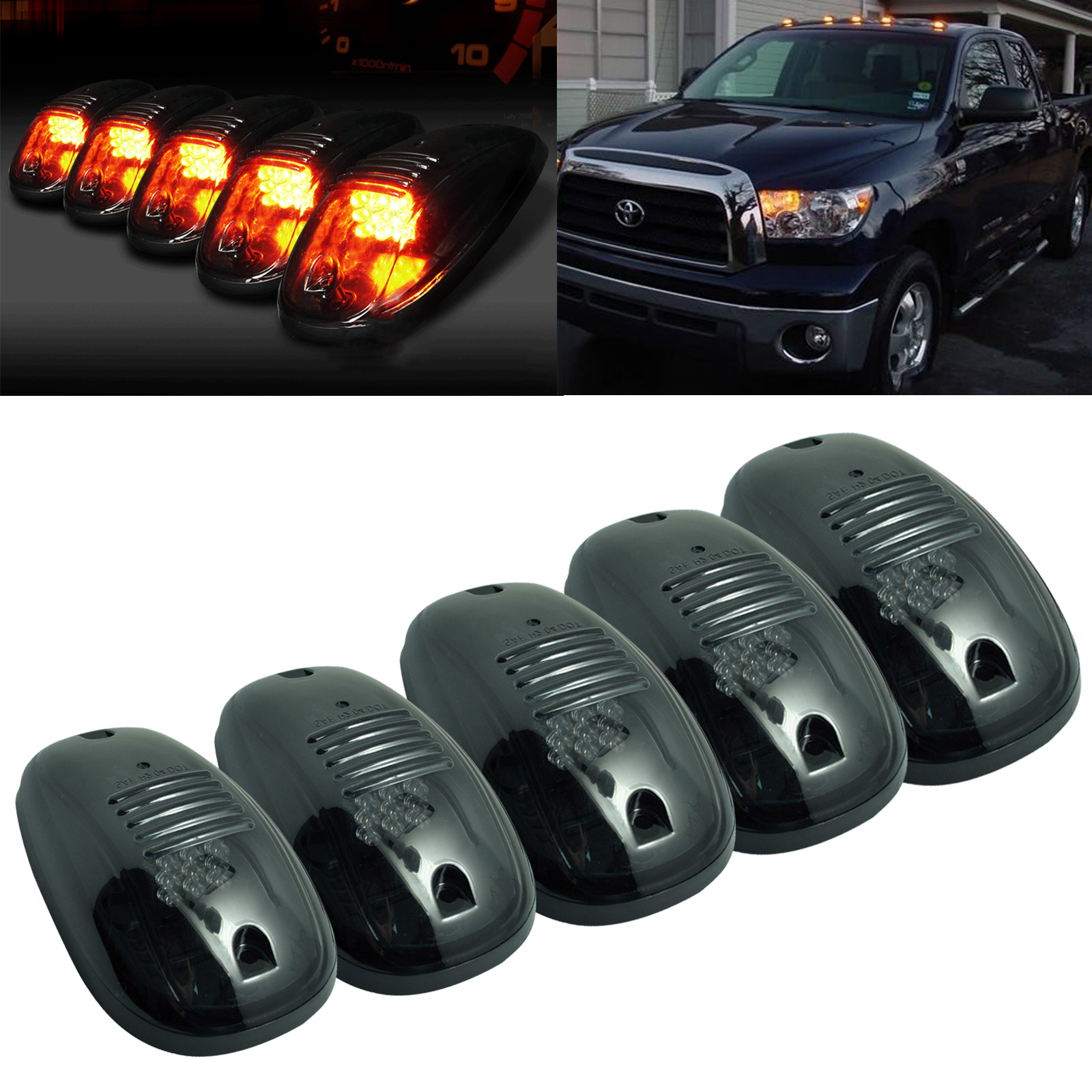 5pcs Car Smoked Amber Car LED Cab Roof Running Side Marker Clearance for Light Truck SUV