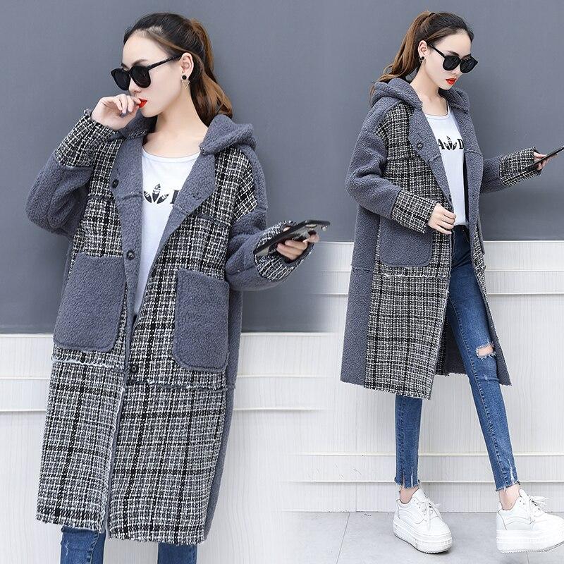 2017 Caldo Berretto Lungo Coreano Vestiti Plus Tweed Picture Con Splicing Agnello Cappotto Invernale Modo Casuale Di Cappuccio Allentato Size Lana Donne 88rqdn