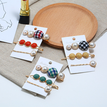 Bohopan 3PCS/Set Vintage Hair Clip Set Classic Plaid Pins For Women Unique Style Party Pearl Accessories Jewelry Trend