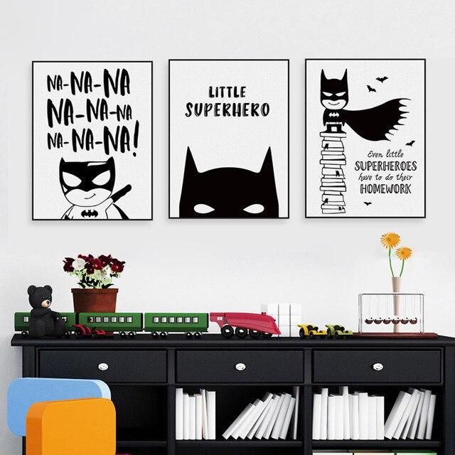 Superhero Batman Hippie Quotes Black White Poster Nordic Boy Kids ...