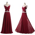 New Arrivals Beaded V Neck Chiffon Long Wedding Bridesmaid Dresses Cheap Under 100 Plus Size  Purple Blue Pink  Navy  C009