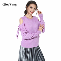 Qingteng Cold Knitted Fashion Pink Off Shoulder Sweater Women Cashmere Wool Autumn Winter Long Sleeve Sweaters