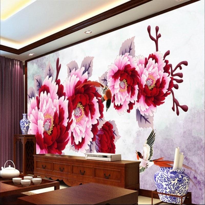 beibehang Large Custom Wallpaper HD Chinese Painting Peony Living ...