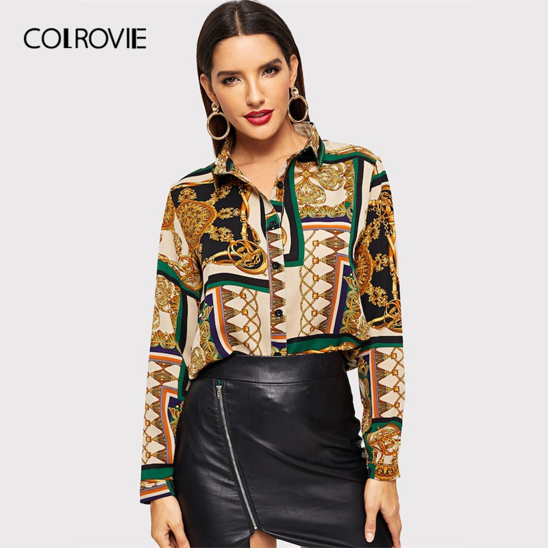 COLROVIE Scarf Print Curved Vintage Satin Blouse Women Clothing 2019 Spring Fashion Long Sleeve Shirt Ladies Tops And Blouses(China)