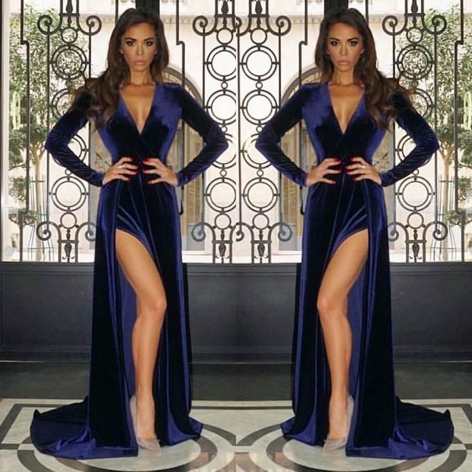 2019 Sexy V-Neck Prom Dresses Long Elegant Long Sleeve Navy Blue Prom Gowns Slit Formal Party Dresses Vestidos De Festa Longo
