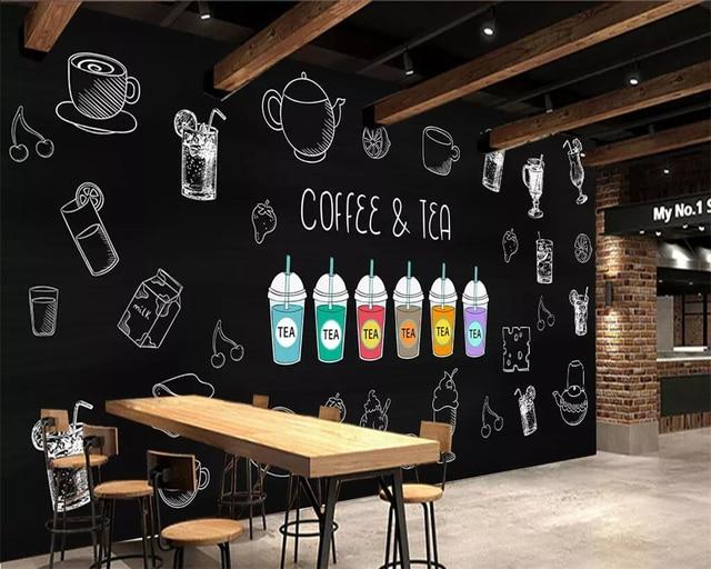Beibehang Custom Wallpaper Hand Painted Coffee Coffee Shop