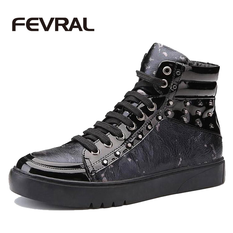 FEVRAL Brand Winter Shoes New Fashion High Top Casual Shoes For Men PU Leather Lace Up Red Black Color Mens Casual Shoes Men  цены онлайн