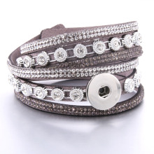 2019 New Snap Jewelry Bracelet Bangle Leather Retro Handmade Braided fit 18MM button jewelry