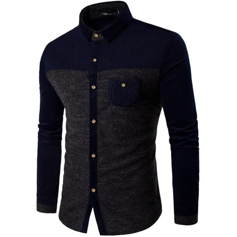 Örme Erkek Gömlek Uzun Kollu Pamuk Polyester Parchwork Gömlek - Erkek Giyim - Fotoğraf 4