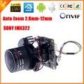 Авто-Зум 3X Моторизованный Зум-Объектив 2.8 мм-12 мм Full HD 1080 P 1/2. 9 ''SONY CMOS AR0130 IMX322 Ip-камера Модуль ПЕЧАТНОЙ Платы + кабель