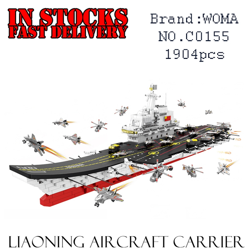 WOMA Battleship C0155 LiaoNing Aircraft Carrier 1904pcs Building Blocks Brick enlighten toy for children Birthday gift brinquedo loz aircraft carrier liaoning 3d building blocks toy aircraft carrier boat 3d model educational gift toy for children