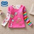 NEAT Nuevo envío libre 2016 ropa de bebé niña mbroidered kid ropa de moda cuello redondo de la camiseta 100% algodón Camiseta L220 #