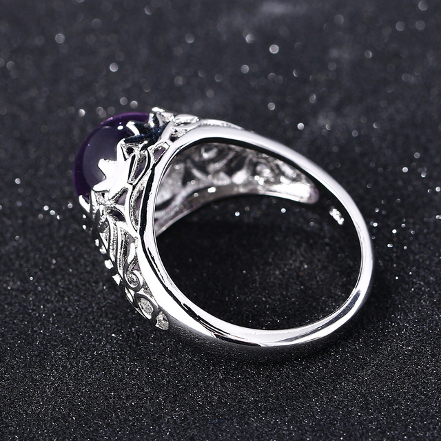 Bague Ringen Vintage 100% 925 Sterling Silver Round Natural Amethyst Wedding Engagement Rings For Women Fine Jewelry Size 6-10 5