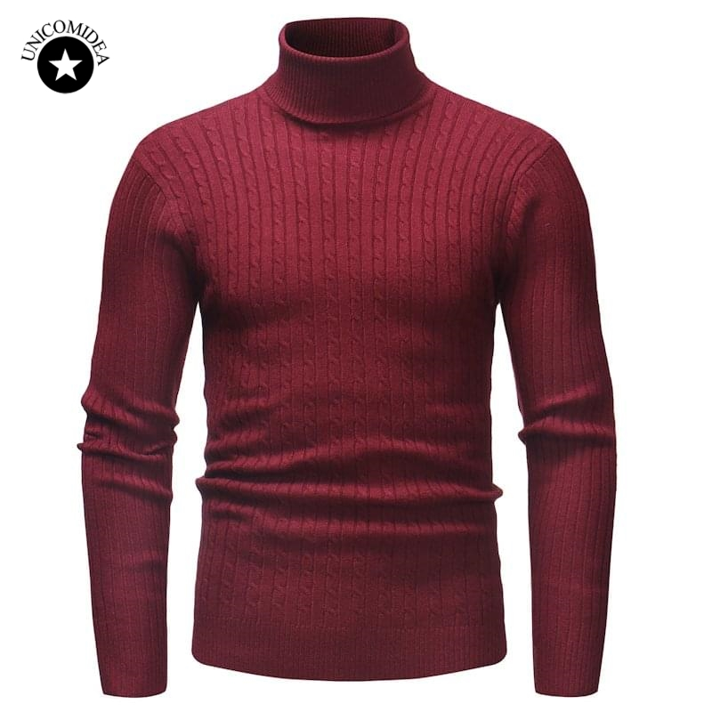 Men Winter High Neck Warm Sweater Solid Color Turtleneck Slim Fit Pullover Men Double Collar Knitwear Male Sweaters Pull Homme