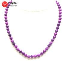 Женское Ожерелье с натуральным камнем qingmos фиолетовое круглое