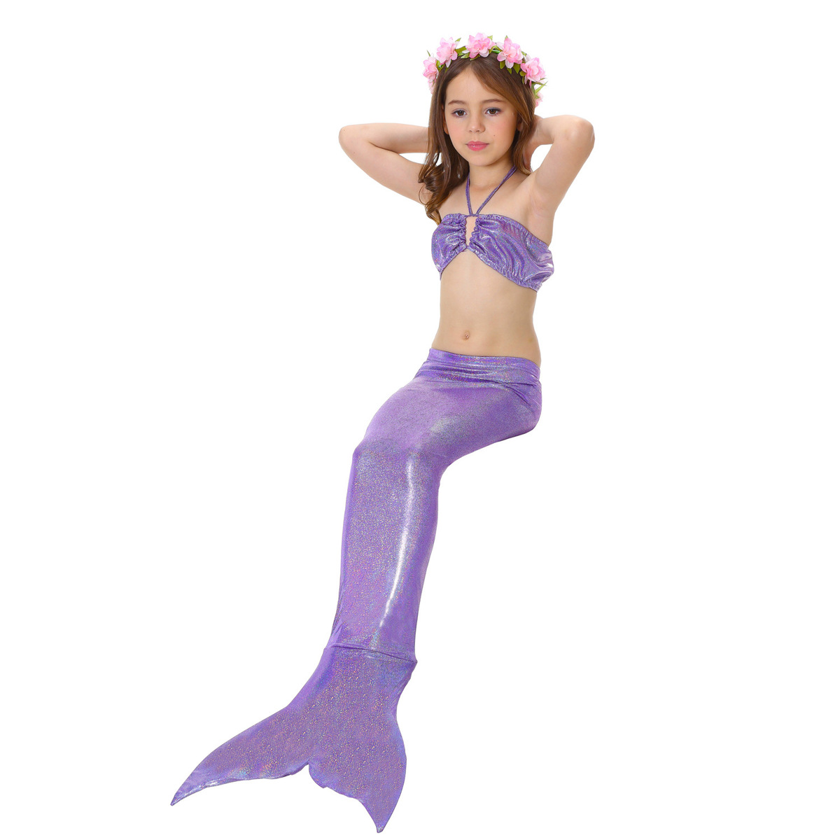 3 Pz Ragazze Bambine Coda Di Sirena Nuotabile Set Bikini Costumi Da ...