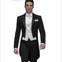 2018 Custom Made Black Groom men suit tuxedo Tailcoat terno slim fit smoking 3 piece Mens Wedding Suits (Jacket+Pants+Vest)