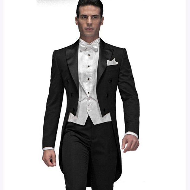 2018 Custom Made Black Groom men suit tuxedo Tailcoat terno slim ...
