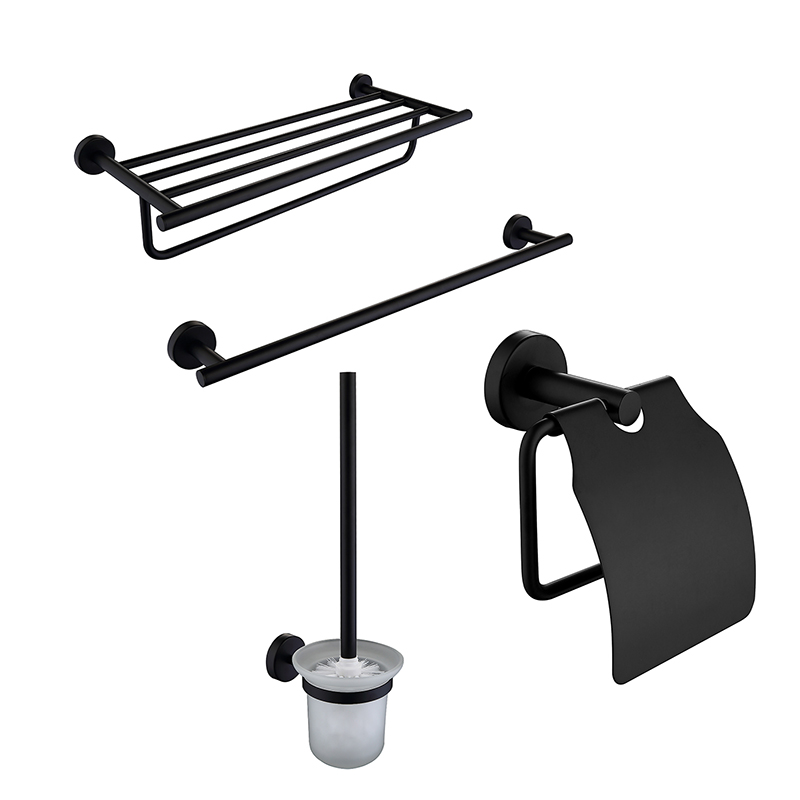 Black Bath Hardware Sets 4pcs/lot 304 Stainless Steel Towel Racks Toilet Brush Paper Holder Towel Rail Bar Bathroom Accessories 10mm 304 stainless bar stainless steel round rod smooth bright surface diy hardware