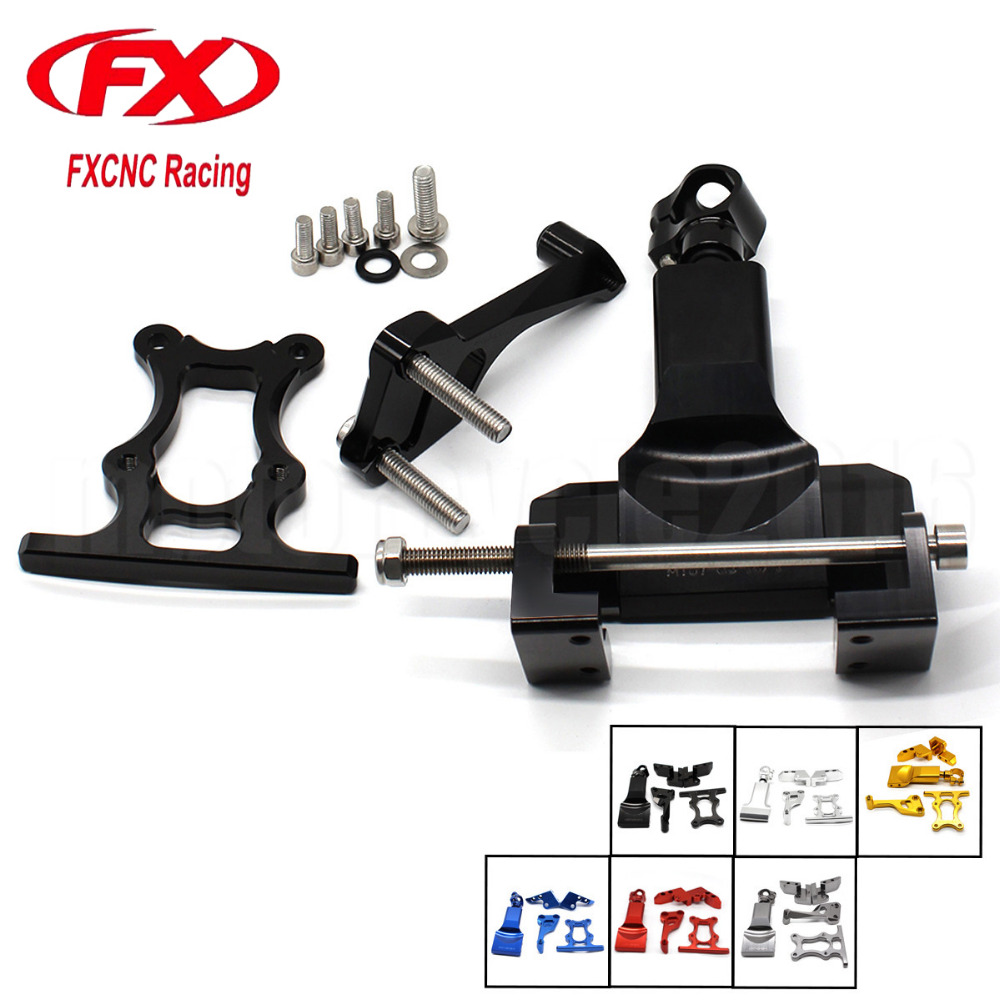 FXCNC Aluminum Adjustable Motorcycles Steering Stabilize Damper Bracket Mount Kit For Yamaha MT07 FZ07 2014-2017 2015 2016 fxcnc universal stunt clutch easy pull cable system motorcycles motocross for yamaha yz250 125 yz80 yz450fx wr250f wr426f wr450