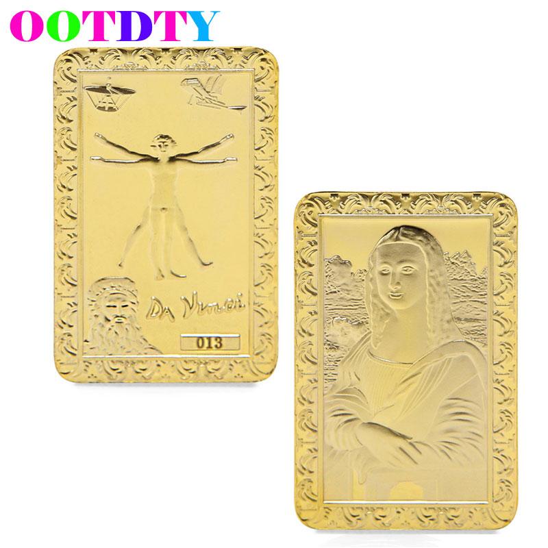 Da Vinci Mona Lisa Gold Plated Commemorative Coins Collection Souvenir Art Bar