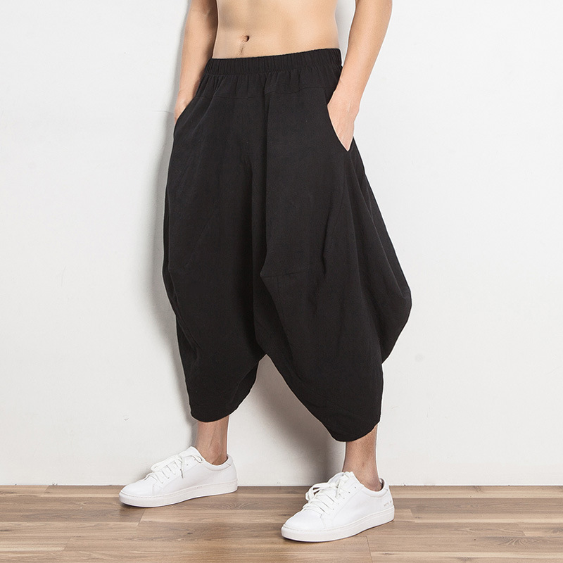 2018 Japan Harajuku Loose Linen Cotton Haren Pants Wide Leg Hanging Crotch Pants Low Crotch Trousers Y332