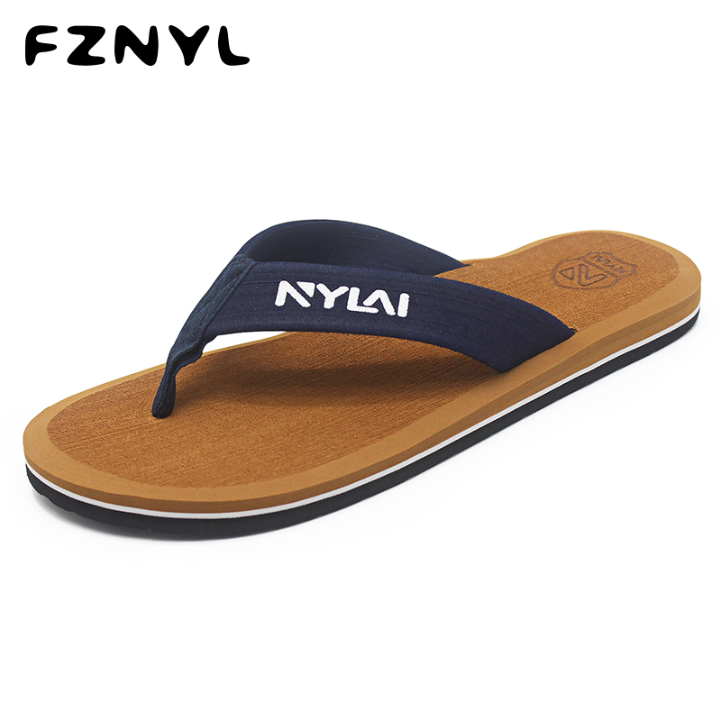 FZNYL Fashion Slippers Man Non-slip Rubber Outsoles Summer Flip Flops Beach Sandals Indoor Home Shoes For Men Big Size 39 46 49