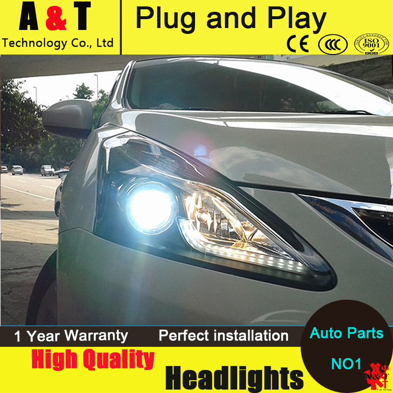 Car Styling LED Head Lamp for Nissan Tiida headlight 2013-2014 New Tiida led headlight drl headlight H7 hid Bi-Xenon Lens hireno headlamp for 2013 2015 nissan tiida headlight assembly led drl angel lens double beam hid xenon 2pcs
