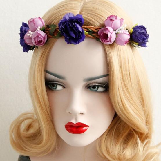 NEW fashion bohemian rose flower stamen braided headband popular beach garland headband assorted colors