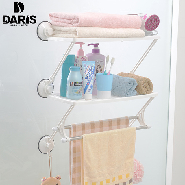 SDARISB Decorative Hotel Plastic Bathroom Towel Hanger Toilet Kitchen Stand  Suction Cup Bathroom Towel Rack Wall