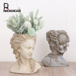 Image 4 - ROOGO succulent plant flower pot the head of elegant Greek goddess bonsai planter garden pot hand crafts home desktop decoration