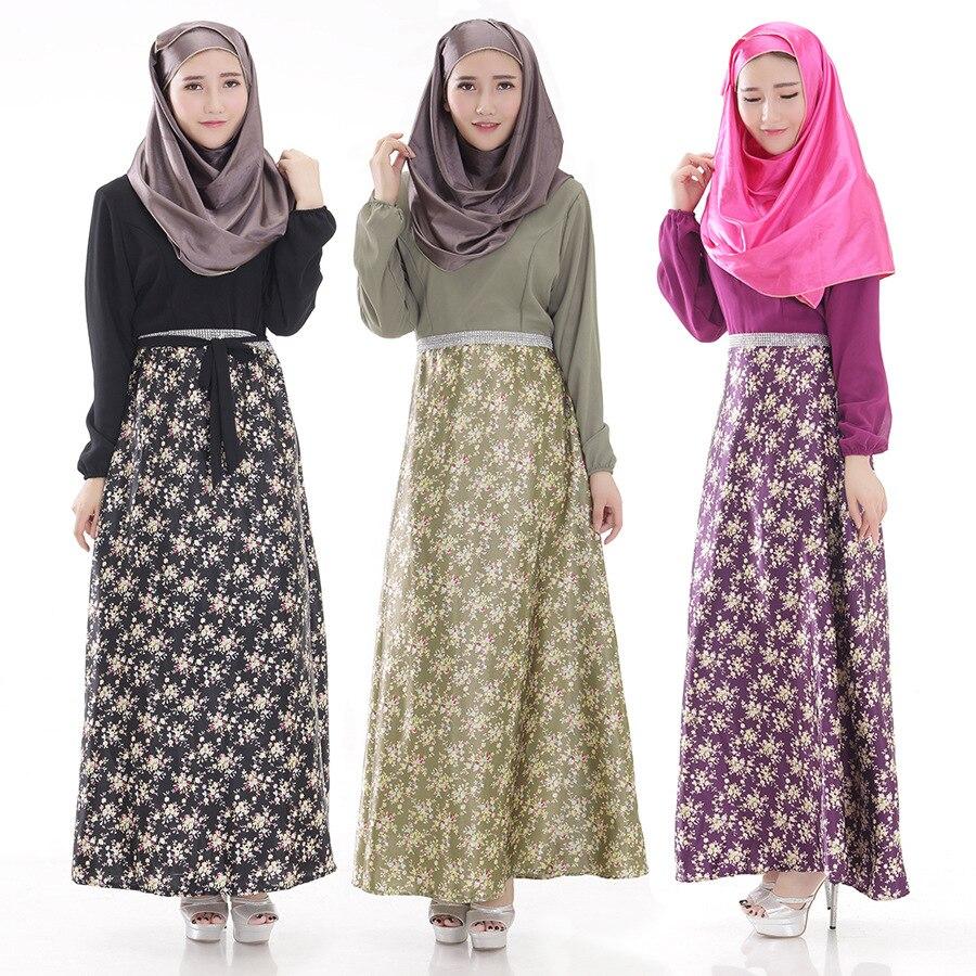 mulher moda vesturio islmico muulmano vestido longo new mangas compridas abaya estilo flor impresso roupas malsia