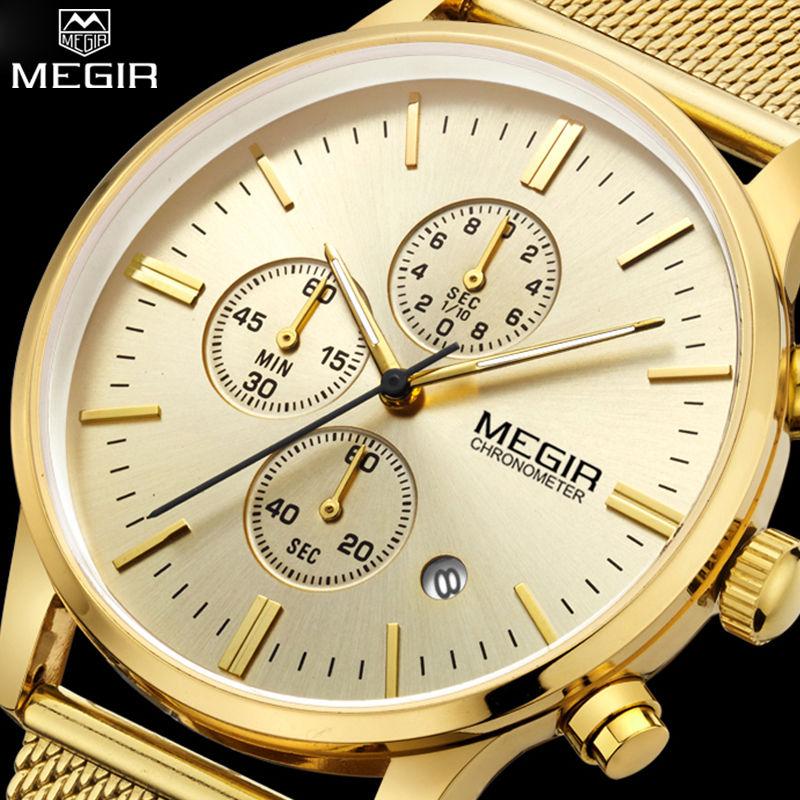 MEGIR Chronographe Hommes de quartz-montre en acier inoxydable maille bande montre en or Mince hommes montres Multi-fonction sport horloge relogio