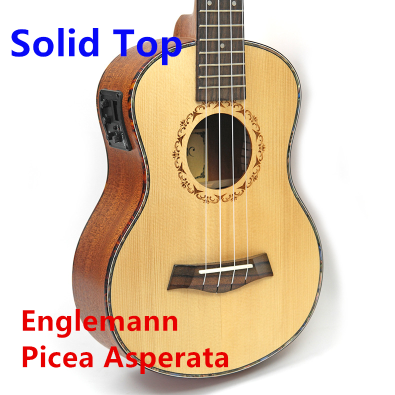 Ukulele Solid Top Picea Asperata Englemann 23 26 Inch Mini Guitar Acoustic Electric Concert Tenor 4 Strings Ukelele цены