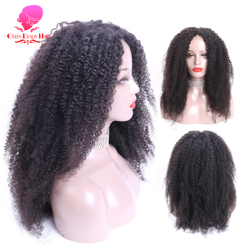 Queen Pre Plucked Glueless Afro Coily Kinky Curly Wigs 150% Density 8-24 Inch Brazilian Remy Half Lace Front Human Hair Wigs Lace Wigs