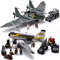 Lepin 31002 401pcs aircraft military Indiana Jones Kingdom of the Crystal Skull Building Blocks Bricks Toys 7683 for children