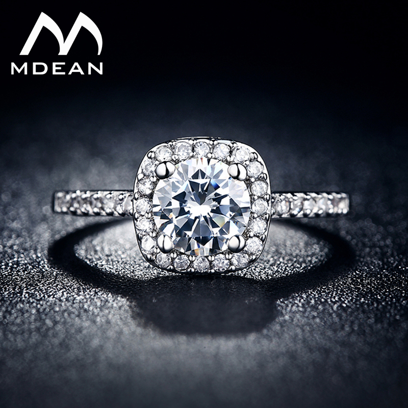 MDEAN White Gold Color Wedding Ring for Women AAA Zircon Jewelry Bague Bijoux Femme Engagement Accessories