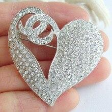 """Свадебные 1,9"""" прозрачный горный хрусталь, страз «любящее сердце» брошка заколка медальон EE04831C1"""