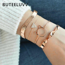 BUTEELUVV Irregular Twisted Cuff Bangles for Women Rhinestones Triangle Charm Gold Cat Geometric Bracelets Set Chic Accessories chic hollowed geometric cuff bracelet for women